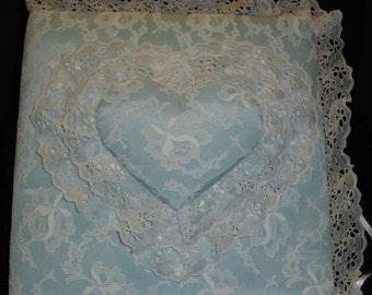 Photo Album Pastel Blue Lacy Double Heart