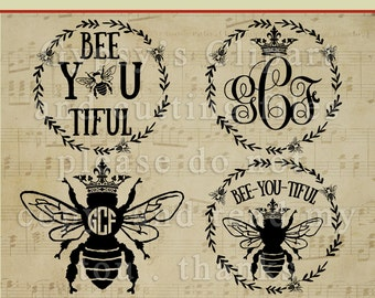 bee svg, Wreath, Bee, Queen Bee, Crown Monogram, Clipart, T Shirt, Vector,Template,Overlay, Silhouette, Cut File, ai,eps, png, dxf, svg