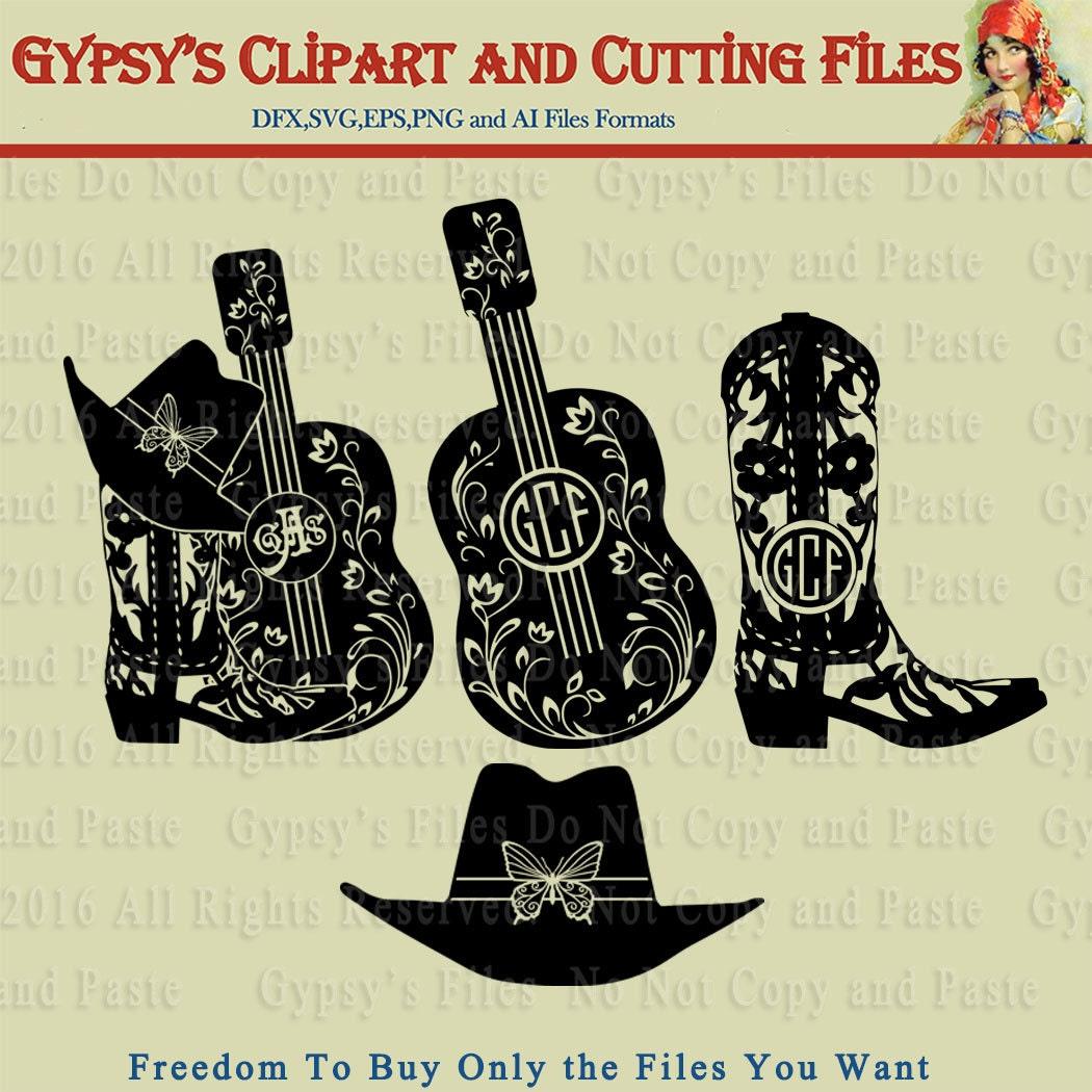 Cowgirl Cowboy Boots Hat Guitar Gypsy Monogram Brave
