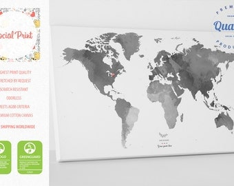 Personal Grey World Map with your Tags, Canvas Print / FREE SHIPPING / wall art, world map, custom world map, personal world map, map print