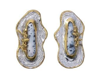 Dendritic Opal Stud Earrings, Statement Earrings, Chunky Earrings, Opal Birthstone Jewelry, Opal Studs, Mixed Metal Earrings, Opal Earrings