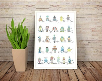 LPR028 ABC poster print alphabet poster Nursery print poster robot poster print educational print poster wall art wall decor child room