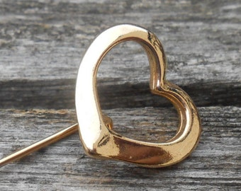 Vintage Heart  Abstract Gold Pin. 1960s