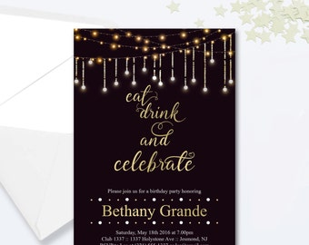 elegant birthday cake adult birthday party invitations, Birthday invitations