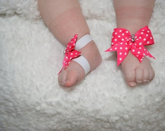 Baby Barefoot Sandals, Bow Barefoot Sandals, Polka Dot Bows, Baby Sandals, Baby Crib Shoes