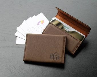 Personalized Business Card Holder, Custom Business Card Holder, Engraved Business Card Holder, Leather Business Card Holder --BCH-LDB-MCA