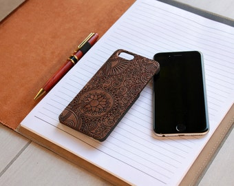 Personalized Iphone 6 case, Custom Iphone 6 case, Wood Iphone 6 case, Laser Engraved Iphone 6 case, Walnut Iphone 6 --IP6-WAL-Paisley