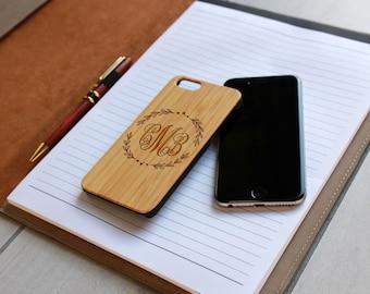 Personalized Iphone 6 case, Custom Iphone 6 case, Wood Iphone 6 case, Laser Engraved Iphone 6 case, Bamboo Iphone 6 --IP6-BAM-CMB Monogram