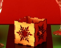 Snowflake wooden candle holder, Snowflake candle lantern, Christmas candle holder, Homemade crafts,Christmas dinner decoration, Xmas gift