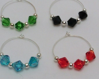 Set of 4 beaded wine charms