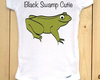 "Black Swamp Onesie/ Northwest Ohio Baby Clothes/ Bullfrog Baby Bodysuit/ Green Bullfrog Image with ""Black Swamp Cutie"" Text/ NW Ohio Baby"