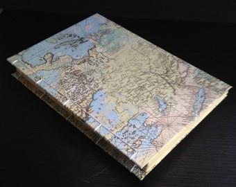 Coptic Bound Sketchbook, World Map Cover