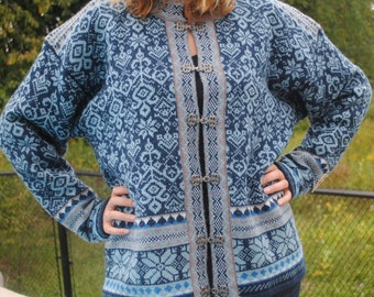 Norwegian wool cardigan sweater by Windfjord, blue and white, 3 xl, ski sweater, Norway
