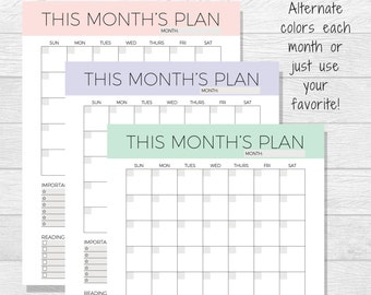 Undated Monthly Planner Printable - Monthly Calendar - Organizer - Month Schedule - 2018 Printable Calendar - Monthly Layout - Blank