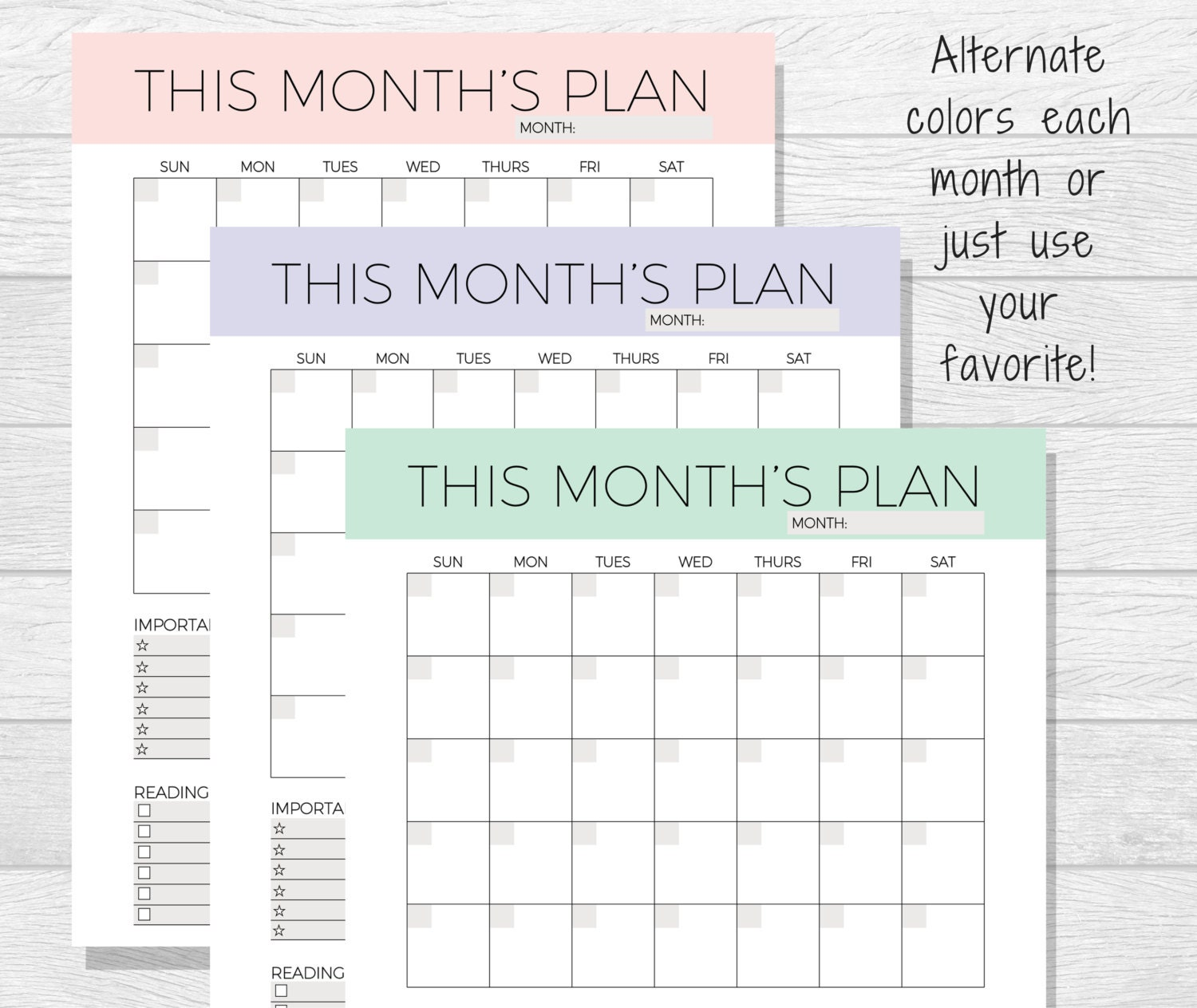 Undated Monthly Planner Printable Monthly Calendar