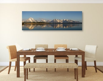 Grand Reflections, Panoramic Canvas Art, Print, Landscape Photography, Peaceful Grand Tetons, Sunrise, Large, Blue, Wall Décor