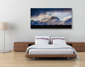 A Grand Storm, Fine Art, Panoramic Canvas Gallery Wrap, Giclee Flat Print, Landscape Photography, Mountains, Silhouette Trees, Grand Tetons