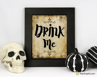 Drink Me Sign, Printable Halloween, Halloween Quote, Halloween Party Sign, Halloween Table Decor, Halloween Decor, Halloween Party Decor