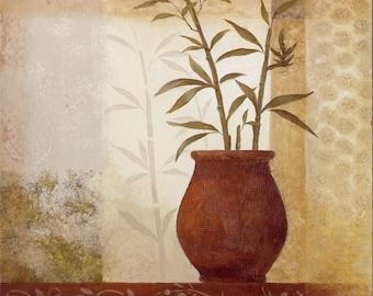 Bamboo Art Print, lithograph, neutral earth tones, beige, cream, browns,