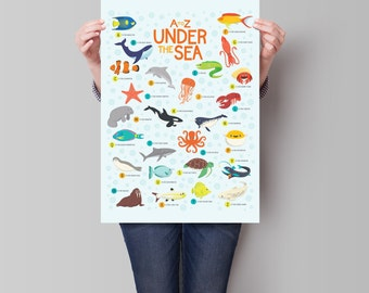 A to Z Under the Sea: Illustrated Marine Animals Classroom Alphabet Poster