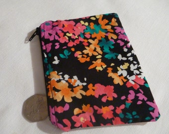 Recycled Black Floral 100% Cotton Coin Purse with Zip.