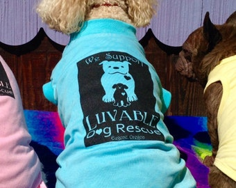 """15"""" Cotton Dog Tshirt in Blue with Luvable Logo"""
