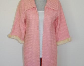 XS 1950's Handmade Wool Coat Bubblegum Pink Shearling Sleeve Cuffs Extra Small