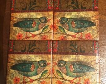 Ceramic Tile Coasters -Bird Coasters -Set of 4 -Home Decor