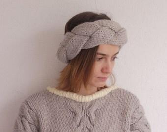 READY TO SHIP! Knitted braid headband. Ear warmer. Winter headband.