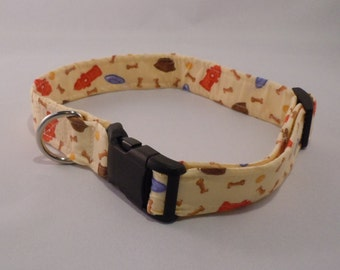 Cloth Covered Dog Collar - Printed Bones & More