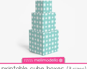 "Printable cube shape boxes ""Lucienne"" water green , 3 sizes, download"