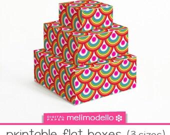 "printable flat boxes ""Rainbow"", 3 sizes, download,"