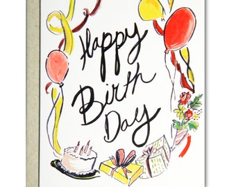Happy Birthday with Ribbons - Illustrated blank card, Birthday, 4.25x5.5""