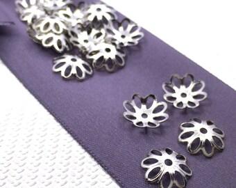 10 mm 100 pcs silver tone Bead Caps
