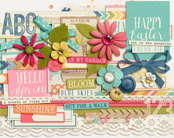 Breath of Fresh Air - Spring Digital Elements - Scrapbooking Pack - Perfect for Easter Crafts!