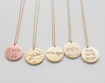 Engraved Disc Necklace, Personalised Circle, Name Plate Necklace, Custom Name, Children Names, Family Name - Medium Circle Tag Necklace #D13