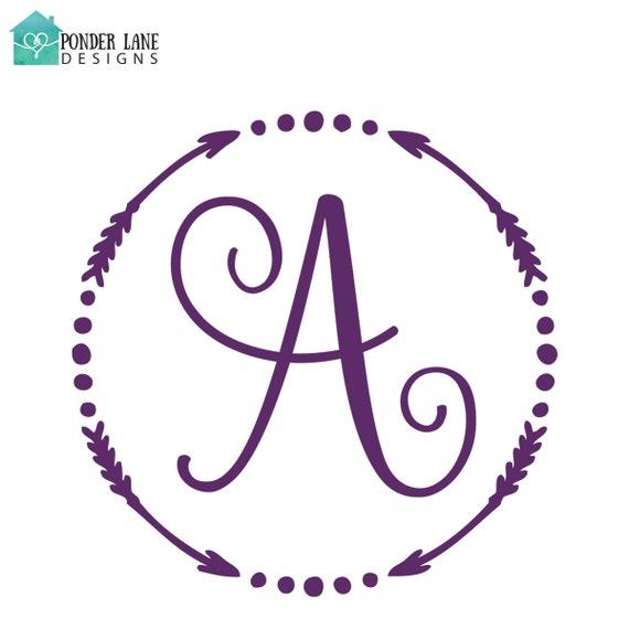 Items Similar To Arrow Monogram Decal Arrows Monogram Yeti Decal For Women Arrow Wedding
