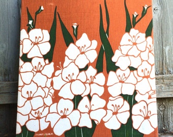Vintage MARUSHKA Mid Century Orange Floral Fabric Silk Screen Print on Linen Canvas