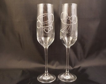 Disney Inspired Etched Mickey and Minnie Wedding Toasting Champagne Flutes Glasses