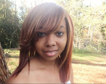 100% Human Hair Full Wig with Feathered Side Bang