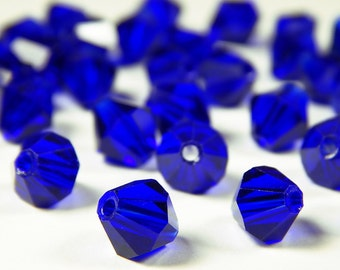 25 Pcs - 8mm Sapphire Blue Glass Bicone Beads - Bicone - Glass Beads - Jewelry Supplies