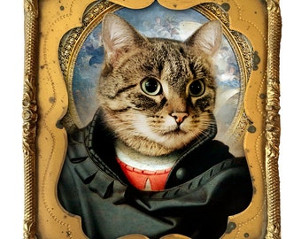 Renaissance Cat Giclée Print - Cat - Animal - Gift