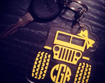 Jeep Keychain - Jeep Acrylic Keychain - Monogram Jeep Keychain - Jeep Keychain with Monogram