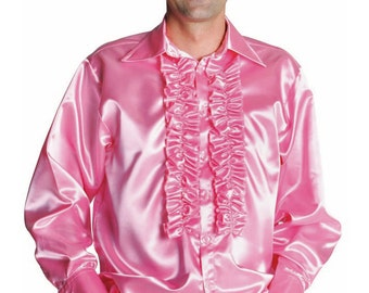 70's Satin Frilled Front Shirt - Light Pink