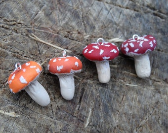 Red Toadstool Clay Charm Necklace
