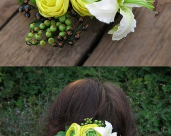Yellow wedding hair clip Bridal hair flower barrette Summer wedding hair piece Floral hair clip Flower hairpiece Cold porcelain flower hair