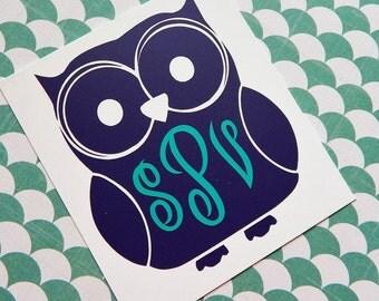 Owl Monogram Decal, Owl Sticker, Owl Vinyl Monogram, Car Decal, Laptop Decal, Owl, Monograms, Monogrammed, Owl Decal