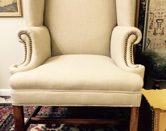 SOLD: EXAMPLE of Custom- Vintage wing chair Kravet linen blend with nail head trim