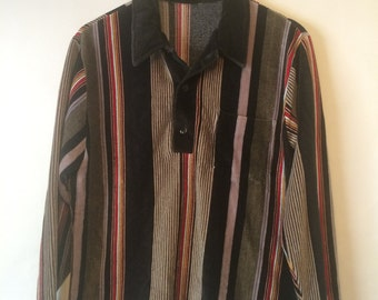 80's Vintage Retro Velour Striped Long Sleeve Collared Sweater Size Large