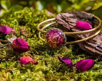 Rose petals Bracelet -real dried flowers bracelet- boho vintage botanical - Saint Valentine's Day gift